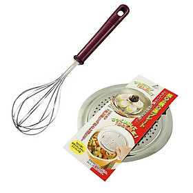 Combo Dụng cụ đánh trứng inox 26cm + Giá hấp inox nội địa Nhật Bản