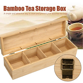4 Compartment Section Tea Bamboo Box Storage Sugar Bag Organizer Container Gift