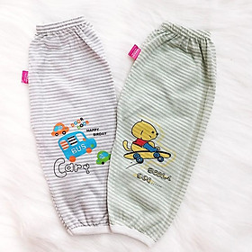 Quần chục dài cotton kẻ cho bé trai và bé gái 2-10kg chất vải đẹp mềm mịn hình thú bé mặc mát co giãn - QVN002