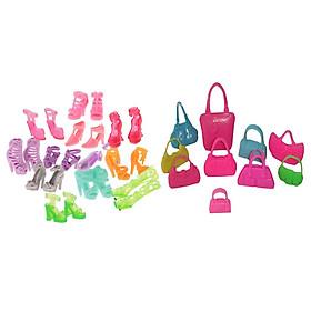 Lô 12 Đôi Giày Cao Gót Nữ + Tặng 10 Hnadbags Cho Búp Bê Barbie Đồ Chơi Trẻ Em Quà Tặng