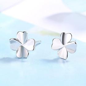 Khuyên tai nữ bạc hình cỏ 4 lá may mắn B2570 - Bảo Ngọc Jewelry