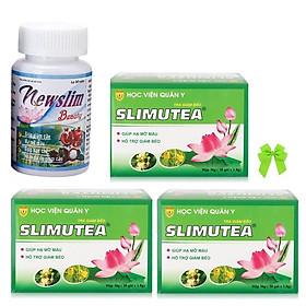 Thực phẩm chức năng Viên uống giảm cân đẹp da lá sen và trà lá sen học viện quân y Việt nam ( 1Newslim + 3 trà slimutea) và nơ