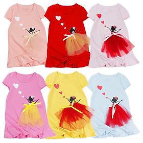 Đầm thun tay ngắn in công chúa cho bé gái 0.5-7 tuổi từ 10 đến 22 kg 06405-06410