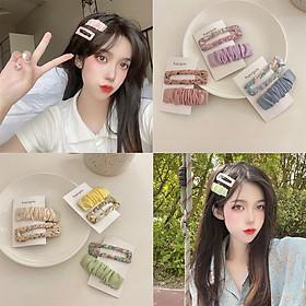 2 Pcs/set Hair Pin Alloy + Cloth Small Fresh Floral Fabric Hairpin Sweet Versatile Bb Clip Hair Accessories