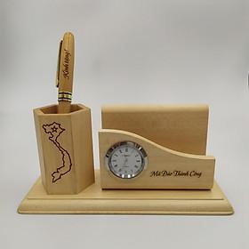 Bộ khay gỗ đựng viết + 1 cây bút gỗ xoay