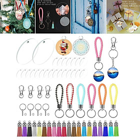 Set of 146 Blank Acrylic Clear Circle Discs Key Chain Ring with Chain and Tassel Pendants Tails Rings Bulk for Keychain Crafts Jewelry Making