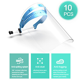 10pcs PPE Disposable Safety Face Shield Fluid Resistant Full Face Mask Transparent Face Shield Prevent Splash and