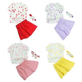 Set linen áo hoa tulip kèm băng đô và chân váy xoè cho bé gái 0.5-6 tuổi từ 8 đến 22 kg 06368-06371
