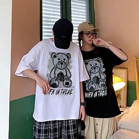 2 Color【M-5XL】Fashion Short Sleeve T-shirt Men Printed Bear Pattern Student Couple Short T-shirt Unisex T-shirt Summer New Style Oversize Couple Wear
