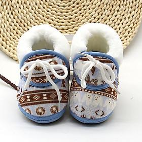 Giày cổ cao phối lông giữ ấm họa tiết xinh xắn cho bé