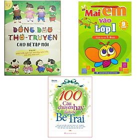 Combo Quà tặng cho bé , Đồng dao thơ truyện cho bé tập nói + Mai em vào lớp 1 dành cho 5-6 tuổi( bộ 9 cuốn ) + 100 câu chuyện hay dành cho bé trai + Tặng kèm 1 cây bút chì hình siêu đẹp