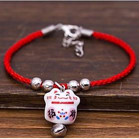 Vòng tay may mắn sợi chỉ đỏ mèo chiêu tài (5 mẫu) đeo tay may mắn phụ kiện nữ thời trang tặng ảnh thiết kế vcone