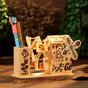 Hộp đựng bút để bàn có phát nhạc- Hộp nhạc bằng gỗ đựng bút 15x 6x10cm+ tặng kèm hình dán ngẫu nhiên