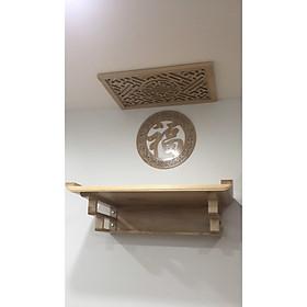 Bàn thờ treo gỗ sồi vàng tặng tấm trang trí và tấm chống ám khói (nhiều kích cỡ) - BH72