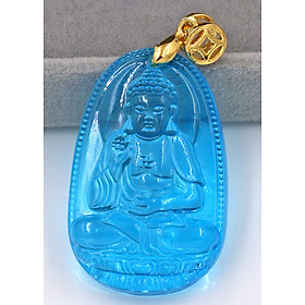 Mặt dây chuyền Phật A Di Đà pha lê xanh lam 3.6 cm MFBXB7 - Phật bản mệnh tuổi Tuất, Hợi