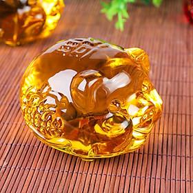 Tượng Heo vàng phong thủy bằng lưu ly - Sung túc - Tài Lộc - Bình An