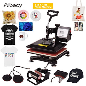 Aibecy 5 in 1 Combo Heat Press Machine Multifunction Sublimation Heat Transfer Machine 360-degree Rotation for