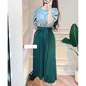 Chân váy xếp ly 7 MÀU kèm đai dáng dài hàng đẹp