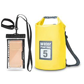 Outdoor Waterproof Dry Backpack Roll-top Floating Bag With 6.3'' Waterproof Phone Case For Kayaking