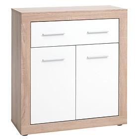 Tủ ngăn kéo JYSK Favvbro gỗ công nghiệp màu sồi/trắng 80x88x35cm
