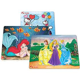 Bộ 3 tranh xếp hình A3, 48 mảnh ghép: hình ảnh tranh các công chúa hoạt hình dành cho bé gái. Tia Sáng Việt Nam. Đồ chơi trí tuệ cho bé từ 3 tuổi. Chứng nhận hợp quy: Xếp hình số mảnh ghép lên đến 250 mảnh.