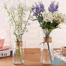 Bình bông ly thủy tinh  cắm hoa eo in hình ( love ) loại 350ml có kèm dây đay..