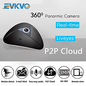 EVKVO - 360 Degree Panorama - Liveyes APP Wireless Full HD 3MP WIFI Dome IP Camera CCTV Infrared night vision Mini 360 Degree Panoramic Fisheye VR Lens Smart Home Security Surveillance Motion Detection Alarm Two Way Audio P2P Camera CCTV