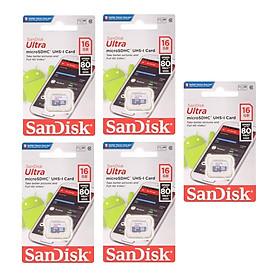 Bộ 5 thẻ Nhớ Micro SDHC SanDisk UHS-1 16GB Class 10 - 80MB/s - Hàng Chính Hãng