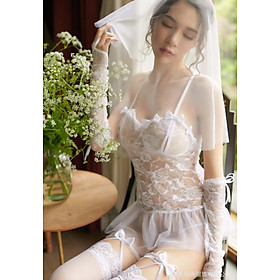 Đồ ngủ Cosplay cô dâu sexy nhiều phụ kiện