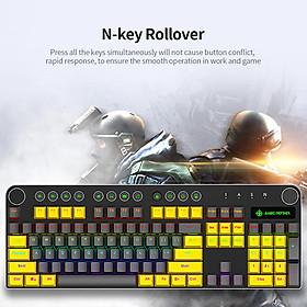 Magic-Refiner MK13 Wired Mechanical Keyboard 104 Keys Mixed Light Gaming Keyboard with Mechanical Blue Switch