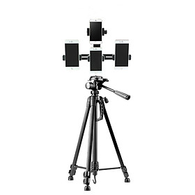 Trọn bộ tripod giá đỡ 3 chân 1.4m cao cấp kèm phụ kiện kẹp điện thoại hỗ trợ livestream 4 máy cùng lúc