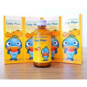 Dầu gan cá tuyết CODY Plus + Cho trẻ thông minh, cao lớn, mắt sáng tinh anh - Bổ sung Omega 3, DHA, EPA, Vitamin A,D, Canxi (Lọ 120ml)