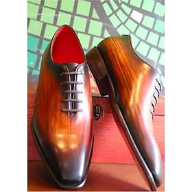 Giày tây da bò ý nhập đánh patina đế da cao cấp màu nâu bò  GMN854393