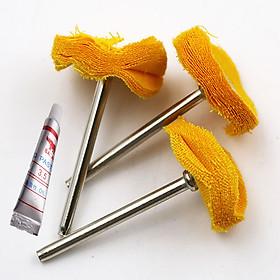 3 đầu vải min đáng bóng chân cán 3 ly và 1 tuýp kem đánh bóng sản phẩm - phụ kiện làm bóng cho máy khoan mài khắc mini