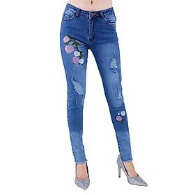 Quần Jeans Nữ Thêu Hoa Không Gấu JNT004