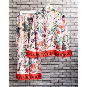 pijama dài họa tiết hoa văn đỏ