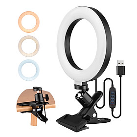 6.3 Inch 2700K-5500K Selfie Ring Video Light with Clamp Mount 3 Dimmable Colors 11 Brightness Levels 360 Degrees