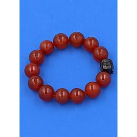 Vòng đeo tay mã não đỏ 14 ly cẩn hạt Phật A Di Đà inox đen VMNONLE14 - hợp mệnh Hỏa, mệnh Thổ