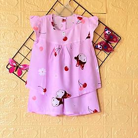Bộ đồ bộ bé gái  Cánh Tiên chất vải tole, lanh 2 da mềm, min, thoáng mát - Giao màu ngẫu nhiên