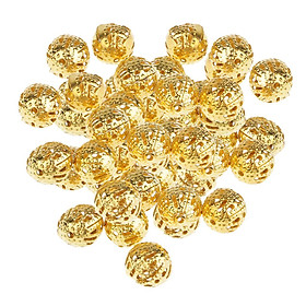 100Pcs Golden Hollow Filigree Ball Loose Spacer Beads for Jewelry Making 8mm