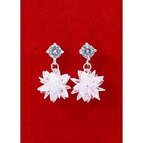 Bông tai bạc nữ đính đá trắng đẹp BTN0075