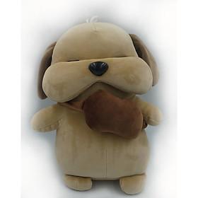 Gấu Bông/ Thú Nhồi Bông Chó Đeo Túi Siêu Dễ Thương 27cm (Tặng kèm móc khóa da bò thật màu ngẫu nhiên) BA00155