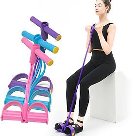 Fitness Pedal Puller Resistance Band 4 Tubes Elastic Rope Sit-up Pull-up Shoulder Arm Abdomen Waist Leg Gym Workouts-3