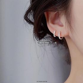 Bông tai bạc nữ Khuyên tai bạc nữ vòng tròn đính đá