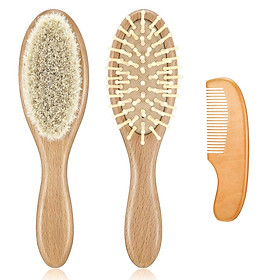 3pcs Hair Brush Comb Set Newborn Hairbrush Kit Infant Comb Soft Wool Hair Wooden Handle Baby Scalp Massage