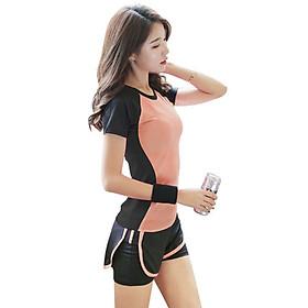 Bộ quần áo tập gym, yoga, thể thao nữ quần đùi áo ngắn tay hàng cao cấp - A08