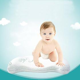 Gối cao su non cho bé chống méo đầu, bẹp đầu, vải sợi tre thoáng khí. Gối cao su đa năng Babyupp ST0001 cho trẻ sơ sinh, em bé