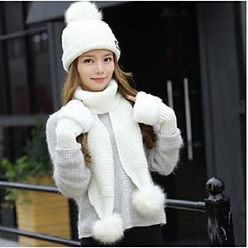 Bộ mũ len nữ kèm khăn và găng tay phong cách Hàn, sét nón len lông thỏ có lót nỉ cao cấp