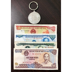 Tiền cổ Việt Nam, đủ bộ tiền 4 tờ cotton sưu tầm (tặng kèm móc khóa Bitcoin)