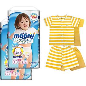 Bộ 2 tã quần cao cấp bé gái Moony L44 [Tặng bộ quần áo Nous 18-24m]